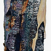 Portion of Suze Woolf burned tree painting