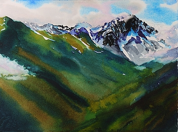 Suze Woolf painting of Buckhorn Mountain Olympic National Park
