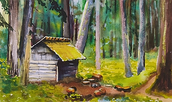 Photo of Suze Woolf painting of Sink Lake shelter