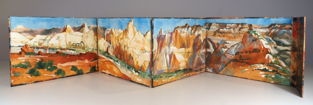 Photo of Suze Woolf artist book of Capitol Reef panorama