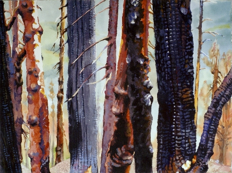 Charred, Still Standing is a Suze Woolf watercolor painting
