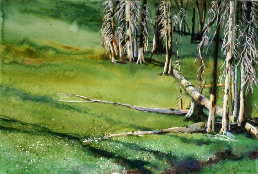 Grass Returns First is a Suze Woolf watercolor painting