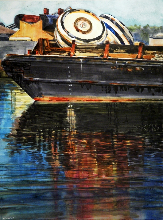 Bad Buoys is a Suze Woolf watercolor on gesso industrial maritime painting