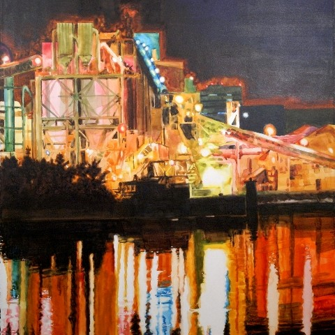 A cropped portion of the Suze Woolf painting, Industrial Midway