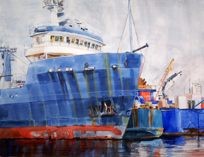 Line-up at Dry Dock is a watercolor on gesso painting by Suze Woolf