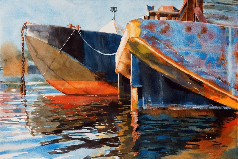 Sunrise Barges is a Suze Woolf watercolor painting of barges
