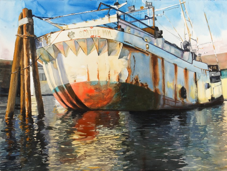 The Golden West is a Suze Woolf watercolor painting of a derelict vessel