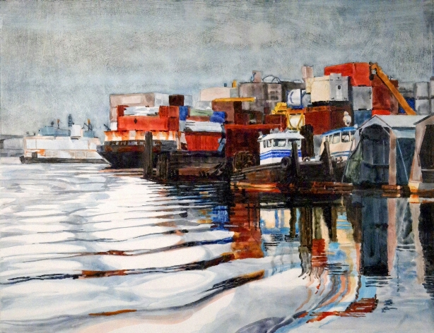 Working Waterfront is a Suze Woolf watercolor on gesso painting.