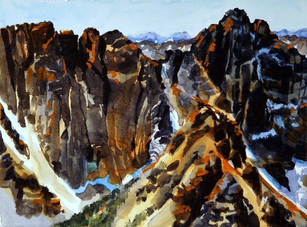 Grimface Mountain is a watercolor painting by Suze Woolf