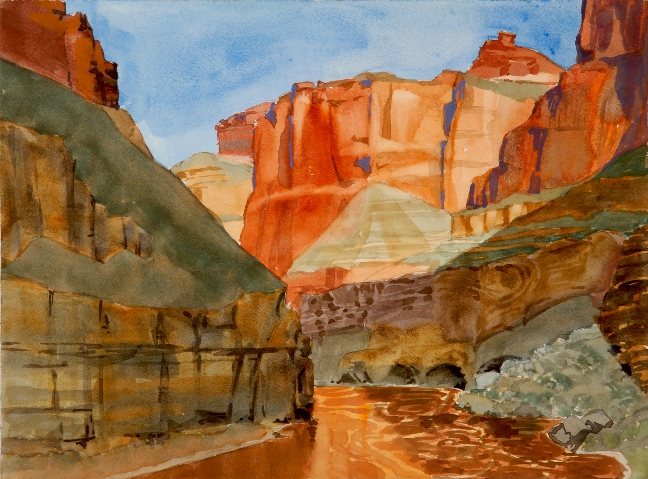 Mile 150 on the Colorado River is a watercolor painting by Suze Woolf