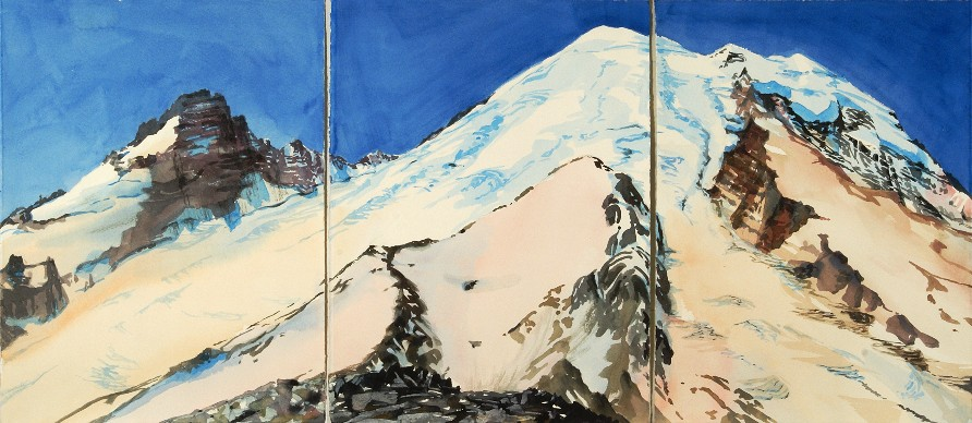 The View from Third Burroughs is a Suze Woolf watercolor painting of Mt. Rainier