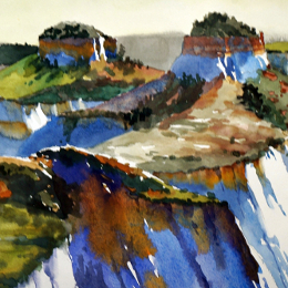 Section of Suze Woolf watercolor painting of Zion National Park