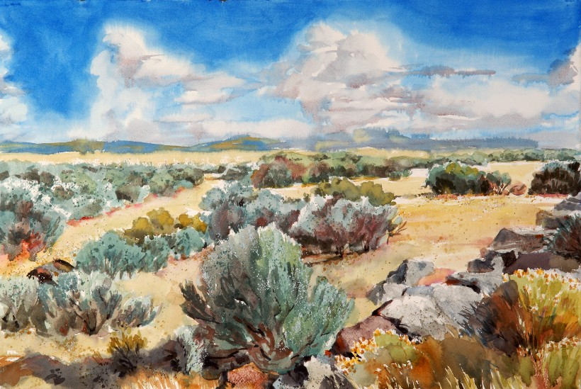 Sagelands, a Suze Woolf watercolor painting for the Nature Conservancy