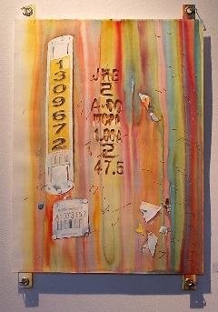 Fremont-130 Suze Woolf watercolor painting installed on grommeted tabs