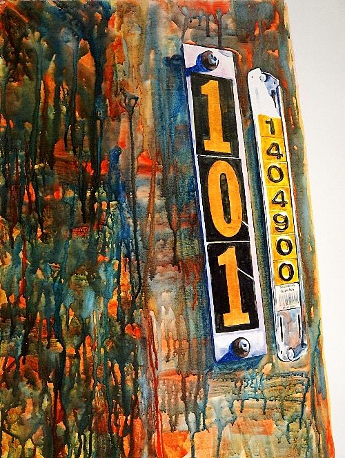 Seattle.101 a watercolor on gesso painting by Suze Woolf