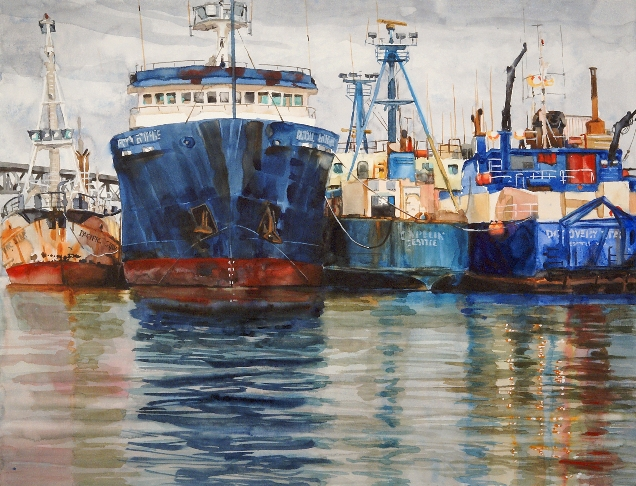 Dry Dock Queue is a Suze Woolf watercolor painting