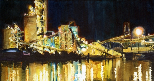 El Dorado is a watercolor painting of a cement plant at night by Suze Woolf