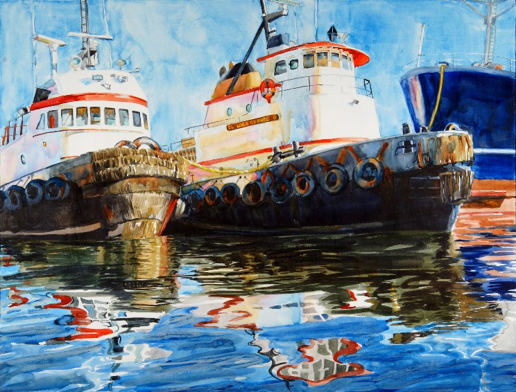 Incidence of Reflection is a Suze Woolf watercolor painting of two tugboats.