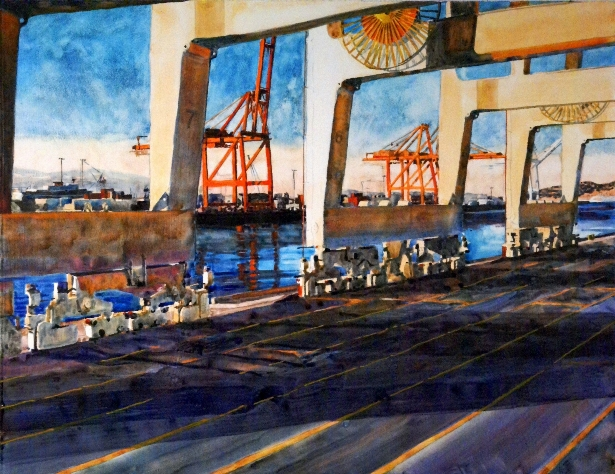 Load Bearing is a Suze Woolf watercolor on gesso painting of industrial maritime scene