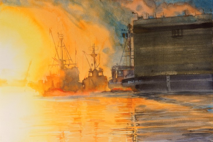 Sunrise on the Ship Canal is a watercolor painting by Suze Woolf