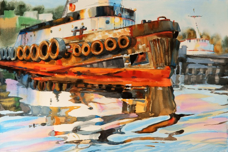 Time to Get to Work is a Suze Woolf watercolor painting of a tugboat