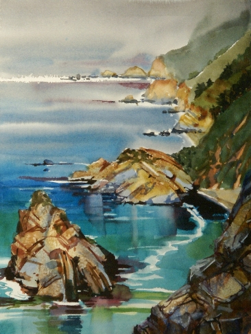 Big Sur North is a watercolor painting by Suze Woolf