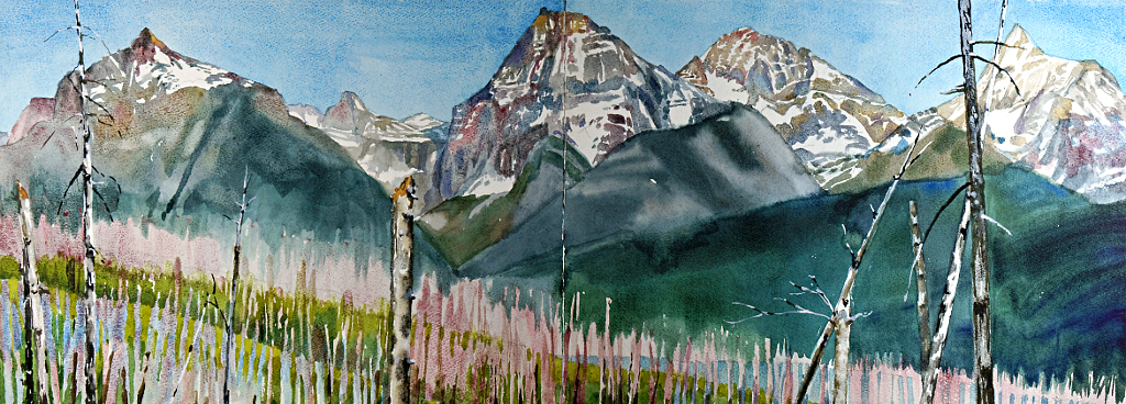 Suze Woolf painting of the Lewis Range and the Robert Fire