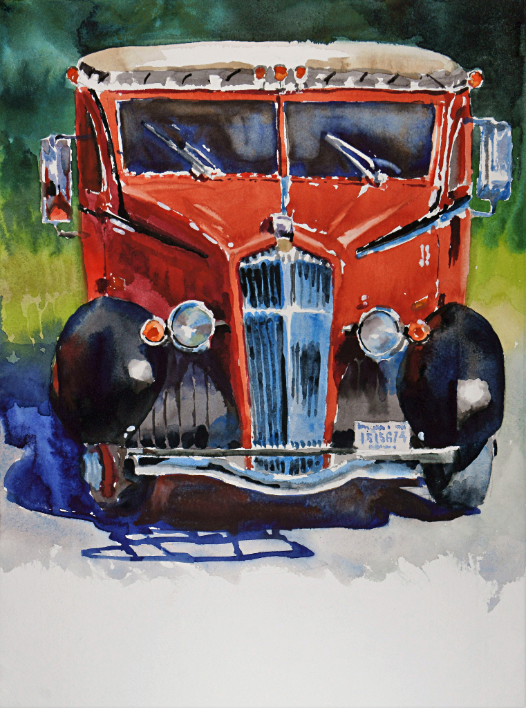Suze Woolf painting of a Glacier National Park red tour bus